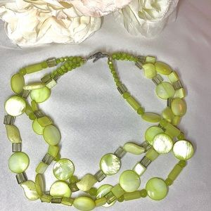 Vintage Three Strand Green Stone Necklace NWOT